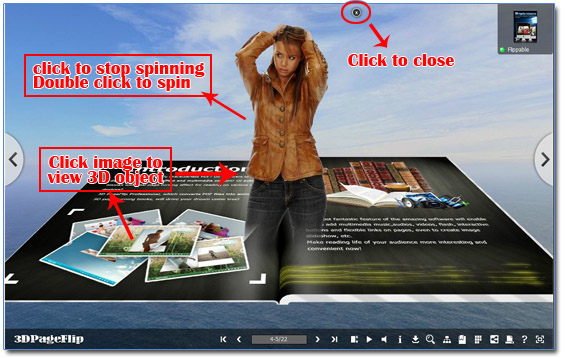 How to create 3D object with 360 degree view in page flip book?