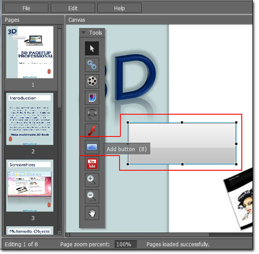 How to create pop-up images slideshow for 3d eBook?