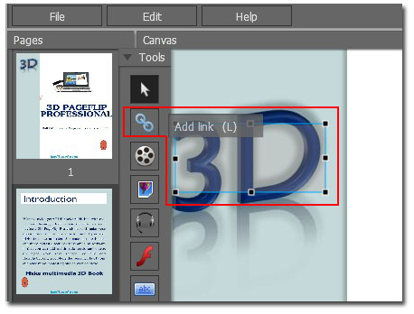 How to rotate link frame in the page editor of 3d book 3d editor