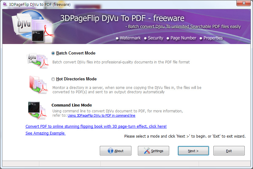 Click to view 3DPageFlip Djvu to PDF - freeware 1.1 screenshot