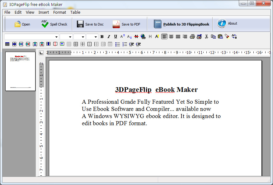 Click to view 3DPageFlip eBook Maker - freeware 1.1 screenshot