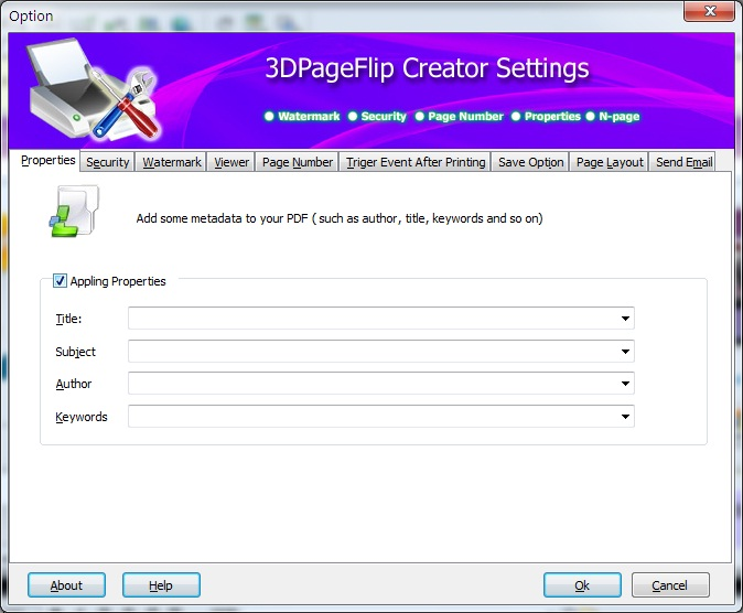Click to view 3DPageFlip PDF Creator  - freeware 1.1 screenshot