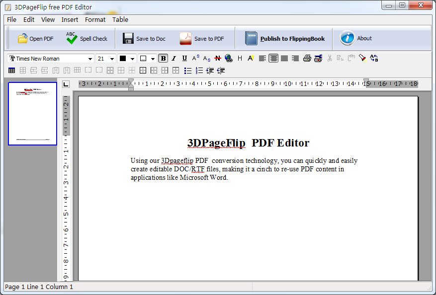 Click to view 3DPageFlip PDF Editor  - freeware 1.1 screenshot
