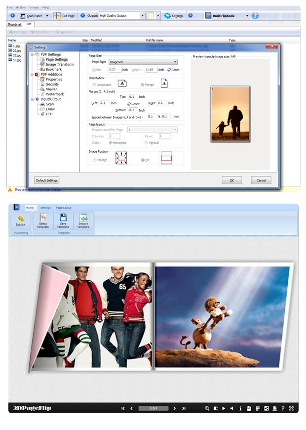 Create PDF, Flash 3D FlippBook from Scanner