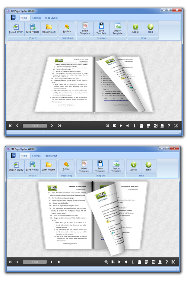 Click to view 3DPageFlip for WORD 1.1 screenshot