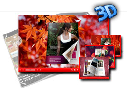 Red templates for 3D page flip book