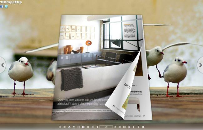 Beach Bird Style Theme for 3D Book full screenshot