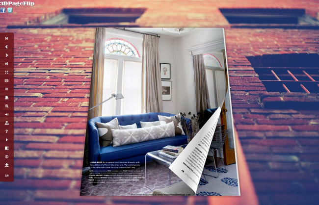 Brick Wall Style Theme for 3D Book full screenshot